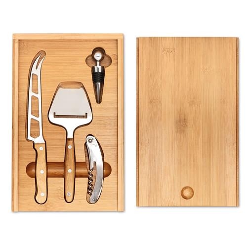 Wine&Cheese, set din bambus pentru vin si branzeturi, in cutie de bambus cu posibilitate de personalizare corporate
