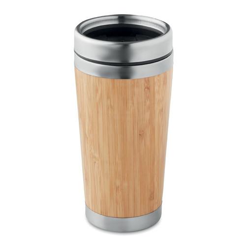 Rodeodrive +, pahar de calatorie din otel inoxidabil, cu perete dublu, cu capac din PP, finisaj din bambus si posibilitate de personalizare corporate