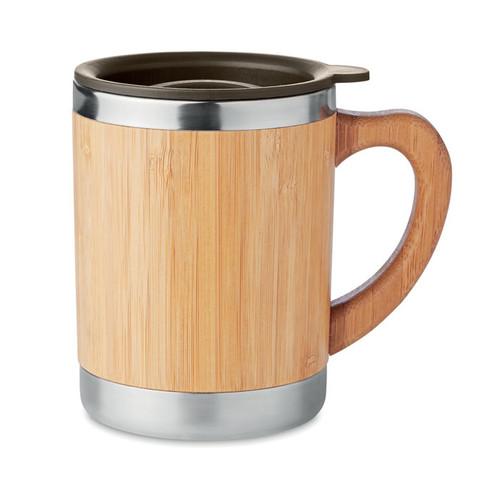Mokka, pahar pentru cafea cu perete dublu din inox imbracat in bambus, cu orificiu rotitor pentru baut si cu posibilitate de personalizare corporate