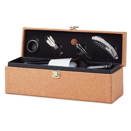 Otago, set vin cu 4 accesorii in cutie de pluta, cu posibilitate de personalizare corporate