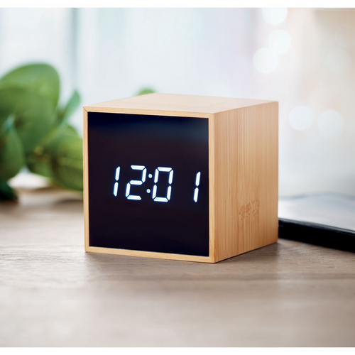 White LED time display alarm clock and temperature display in bamboo casing