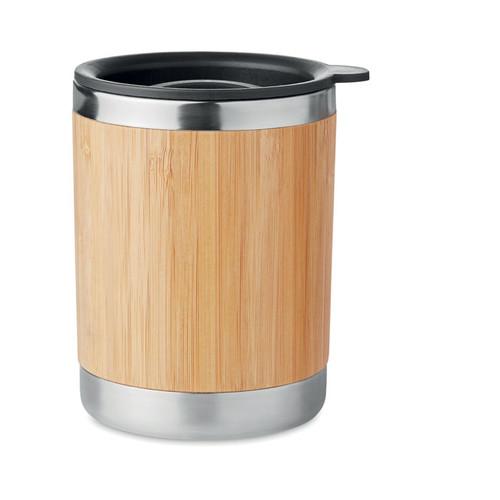 Lokka, cana din otel inoxidabil, pereti dubli, suprafata exterioara din bambus, capac cu inchidere detasabil si cu posibilitate de personalizare corporate
