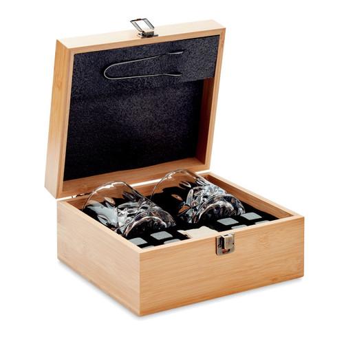 Inverness, set de whisky de lux in cutie cadou din bambus cu posibilitate de personalizare corporate