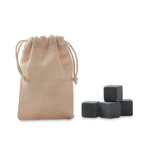 Rocks, set de whisky cu 4 cuburi de gheata din piatra reutilizabila, cu posibilitate de personalizare corporate pe husa de bumbac