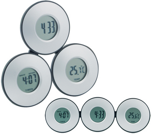 Tri - clock and thermometer