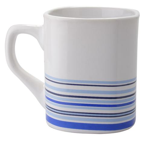 Streak, cana din ceramica alba, unghiulara, cu dungi colorate si cu posibilitate de personalizare corporate