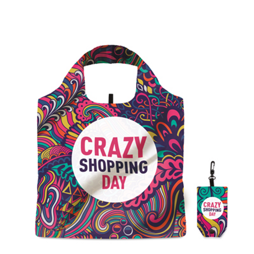 Foldable 210D shopping bag with double layer handles, in pouch with plastic hook. Dimensions: 39x50cm.