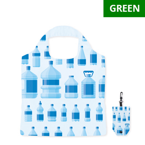 Foldable RPET shopping bag with double layer handles, in pouch with plastic hook. Dimensions: 39x50cm.