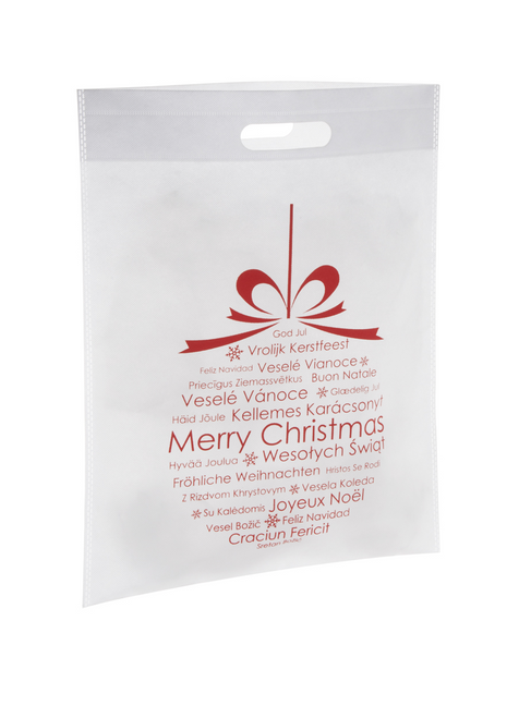 Punga cadou fabricata din material non woven, gramaj material 70 g / m², cu de design de Crăciun pe o fata, cealata parte putand fi personalizata prin transfer digital sau termotransfer.