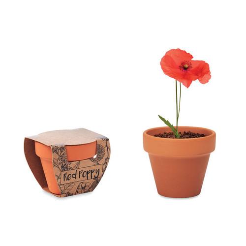 Red Poppy, ghiveci din teracota cu seminte de mac, cu posibilitate de personalizare corporate
