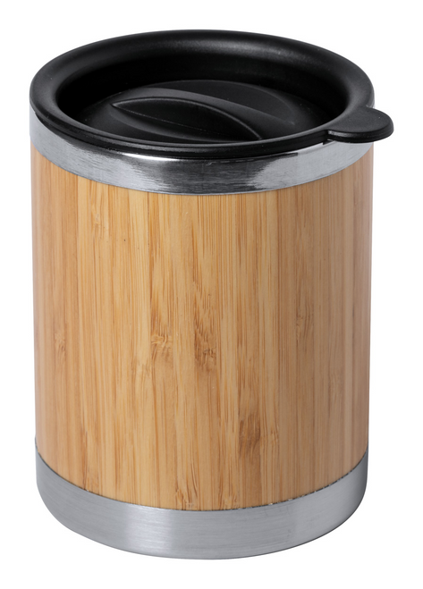 Lubon, cana termica din otel inoxidabil si bambus, cu capac de baut din plastic si cu posibilitate de personalizare corporate
