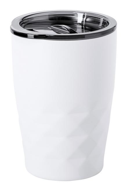 Blur, cana termoizolanta din otel inoxidabil cu pereti dubli, cu capac de baut din plastic si cu posibilitate de personalizare corporate