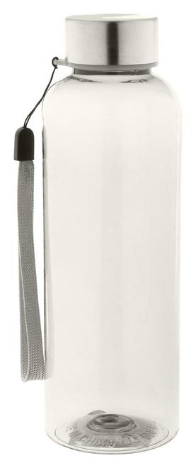 Pemba, sticla sport din plastic RPET, fara BPA, cu capac din otel inoxidabil, curea de transport si cu posibilitate de personalizare corporate