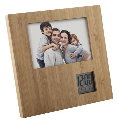 rama foto din bambus cu statie meteo si ceas desteptator cu personalizare