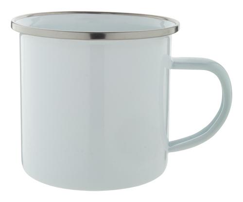 Joplin, cana pentru cafea, emailata, din metal cu marginea din otel inoxidabil si cu posibilitate de personalizare corporate