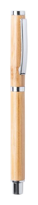Pix roller fabricat din bambus, cu caccesorii cromate si mina de culoare albastra.