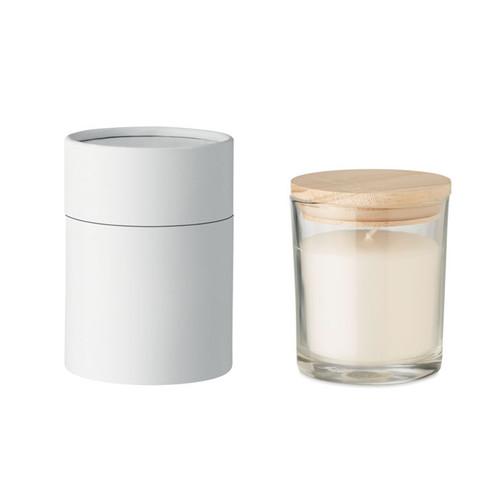 Lumanare din ceara cu parfum de vanilie in pahar din sticlă cu capac din bambus cu posibilitate de personalizare corporate