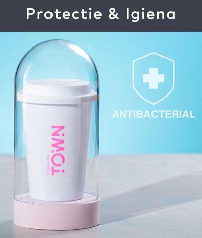 Produsele antibacteriene sunt tratate cu nano particule de argint care previn dezvoltarea bacteriilor pe suprafața acestora. Gama de materiale promoționale antibacteriene personalizate include căni, pixuri, șervețele antibacteriene, agende, pixuri etc.