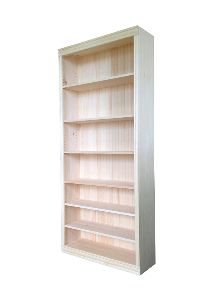 "Unfinished Pine Bookcase 82""H"