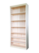 "Unfinished Pine Bookcase | 36""W x 82""H x 12""D"
