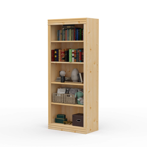 "24"" Wide x 58"" High x 12""D Traditional Framed Solid Pine Bookcase.  Holds your books and more."