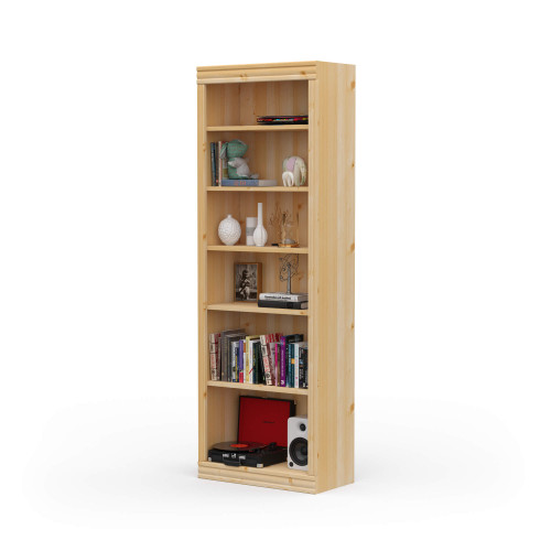 "24"" Wide x 70"" High x 12""D Traditional Framed Solid Pine Bookcase.  Holds your books and more."