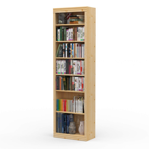 "24"" Wide x 82"" High x 12""D Traditional Framed Solid Pine Bookcase.  Holds your books and more."