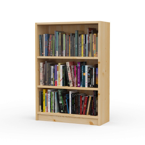 "24"" Wide x 34"" High x 9.25"" Deep Contemporary Solid Pine Bookcase holds all your books and more."