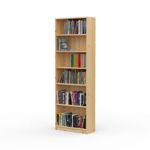 "24"" Wide x 70"" High x 9.25"" Deep Contemporary Solid Pine Bookcase holds your books and more."