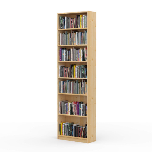 "24"" Wide x 82"" High x 9.25"" Deep Contemporary Solid Pine Bookcase holds your books and more."