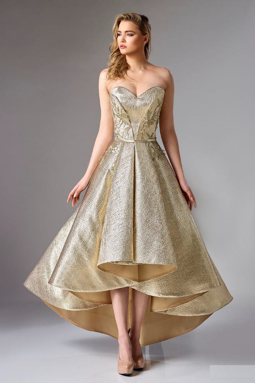 Gold Strapless Brocade High Low Dress District 5 Boutique