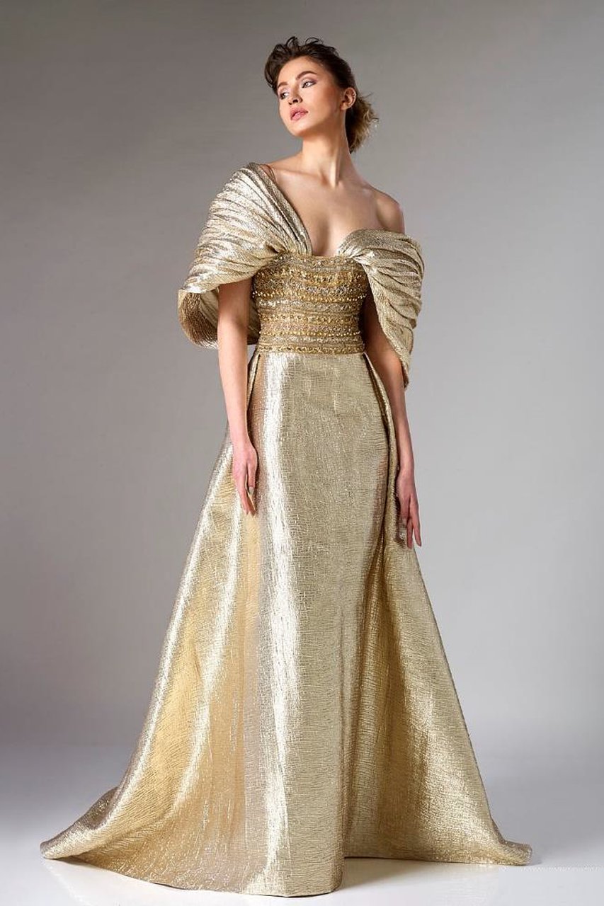 Gold Brocade Evening Gown - District 5 Boutique