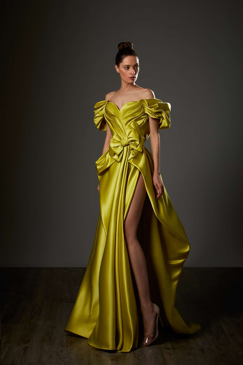Ziad Germanos Ruffled Off Shoulder Draped Slit Gown District 5 Boutique