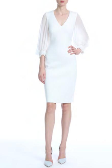 Badgley Mischka ¾ Sleeve V-Neck Day Dress