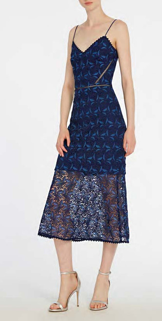 Ml Monique Lhuillier Sleeveless Printed Lace Midi