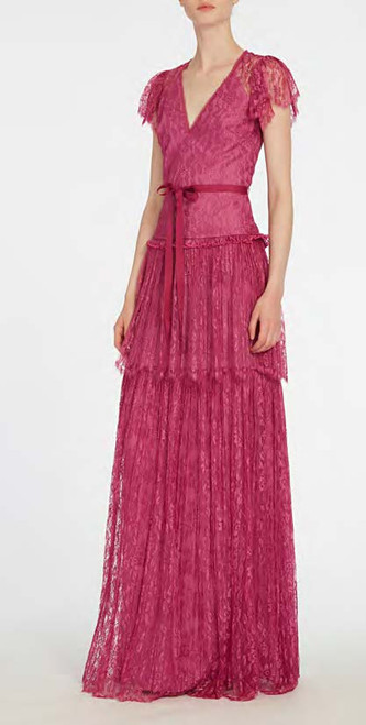 Ml Monique Lhuillier Flutter Sleeve Lace Gown
