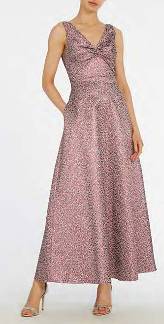 Ml Monique Lhuillier Sleeveless Printed Jacquard Midi Dress