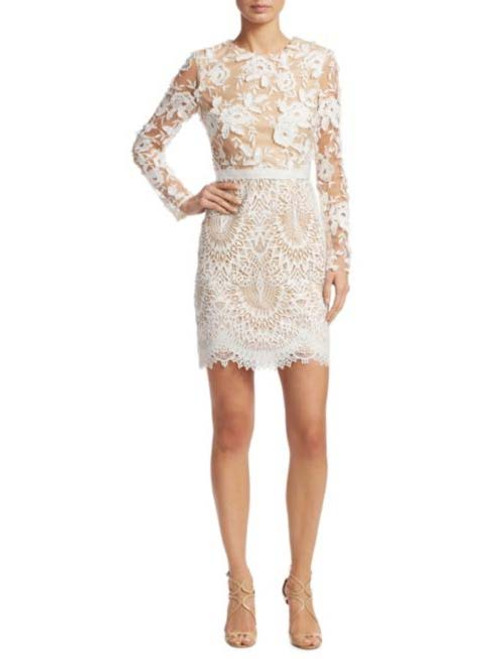 Ml Monique Lhuillier Long Sleeve Floral Embroidered Mesh Dress