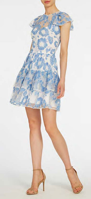 Ml Monique Lhuillier Short Sleeve Floral Lace Dress