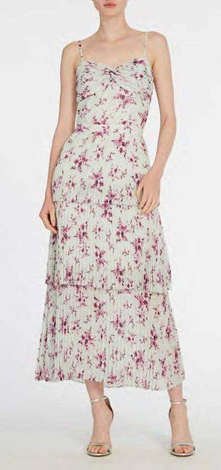 Ml Monique Lhuillier Sleeveless Floral Printed Midi Dress
