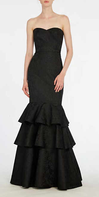 Ml Monique Lhuillier Strapless Jacquard Evening Gown