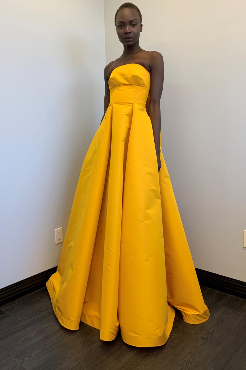 Greta Constantine Feun Strapless Silk Faille Gown