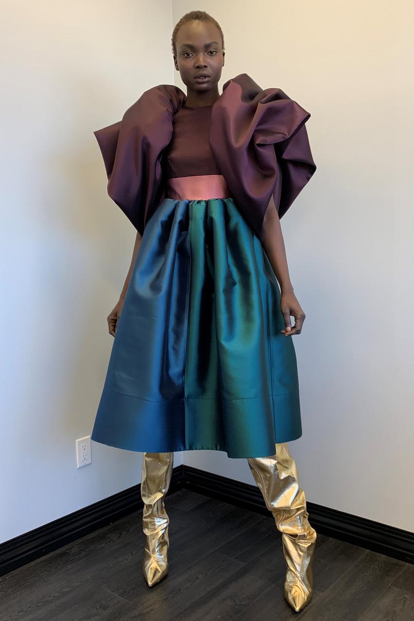 Greta Constantine Matisse Silk Wool Dress