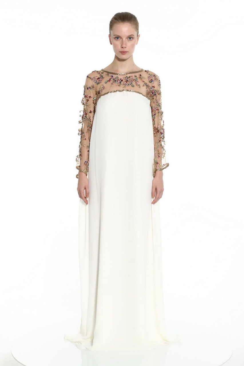 Marchesa EMBROIDERED GEORGETTE CAFTAN GOWN