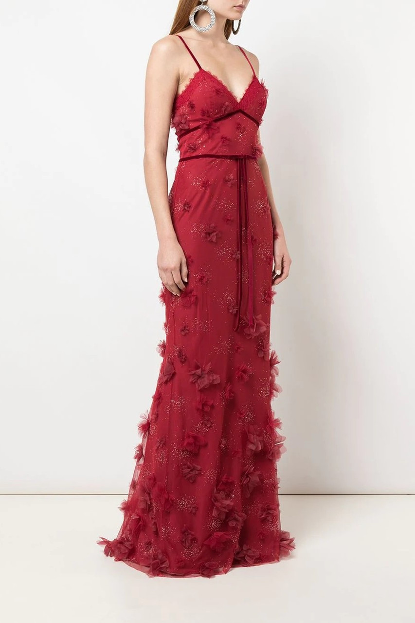 Marchesa Notte SLEEVELESS APPLIQUE GOWN