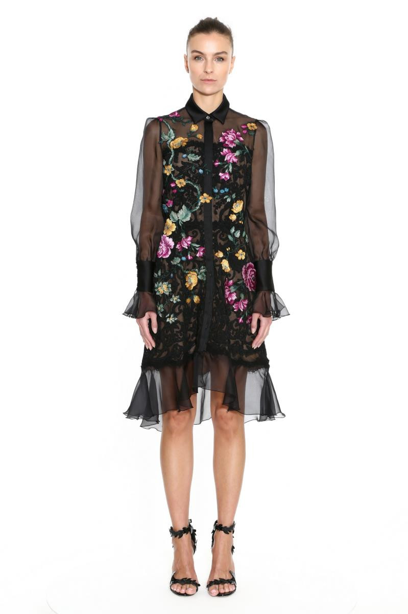 Marchesa Women's Damask Lace Floral Embroidered Shirtdress In Black