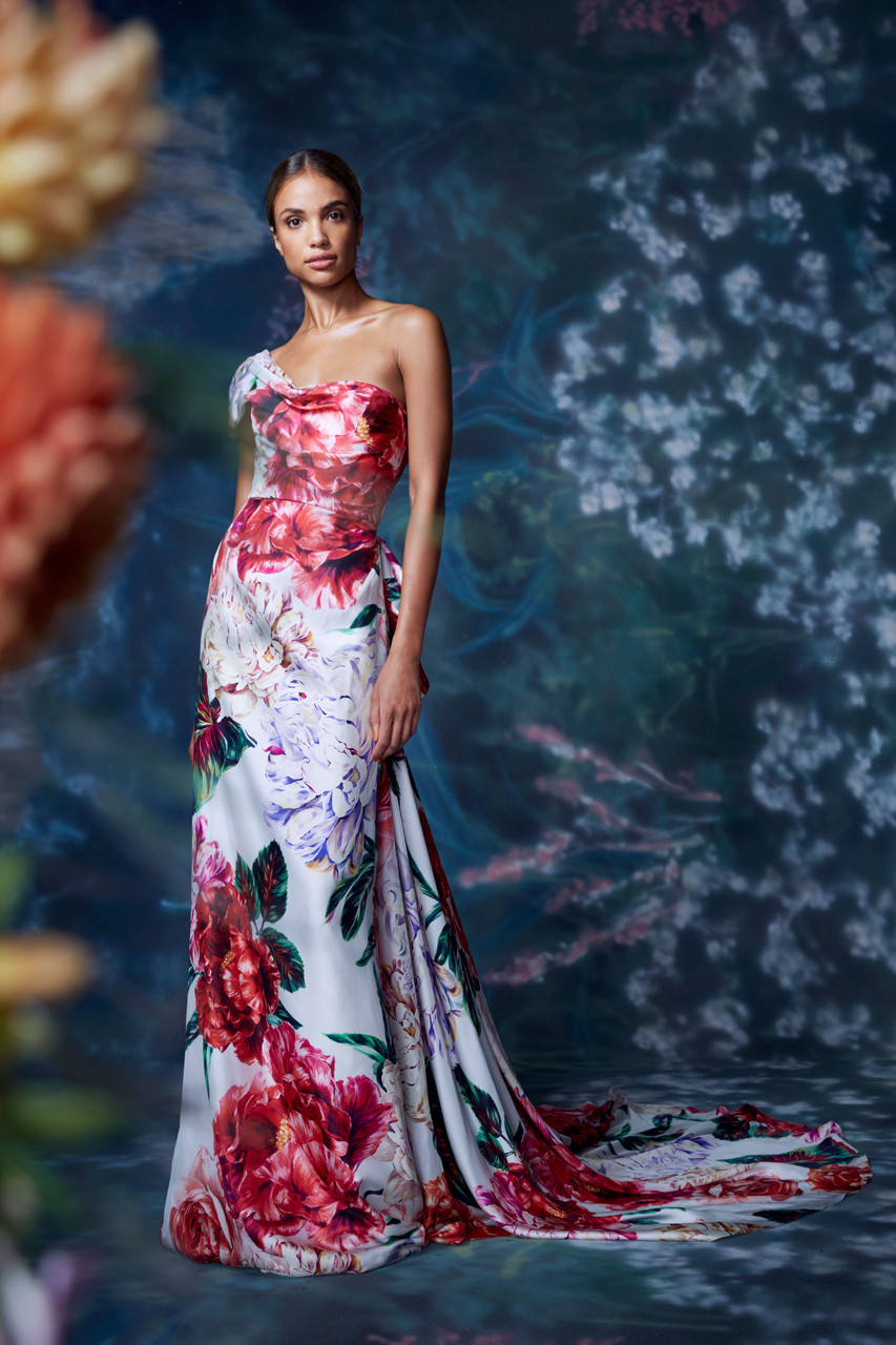 Marchesa FLORAL ONE SHOULDER GOWN WITH TRAIN