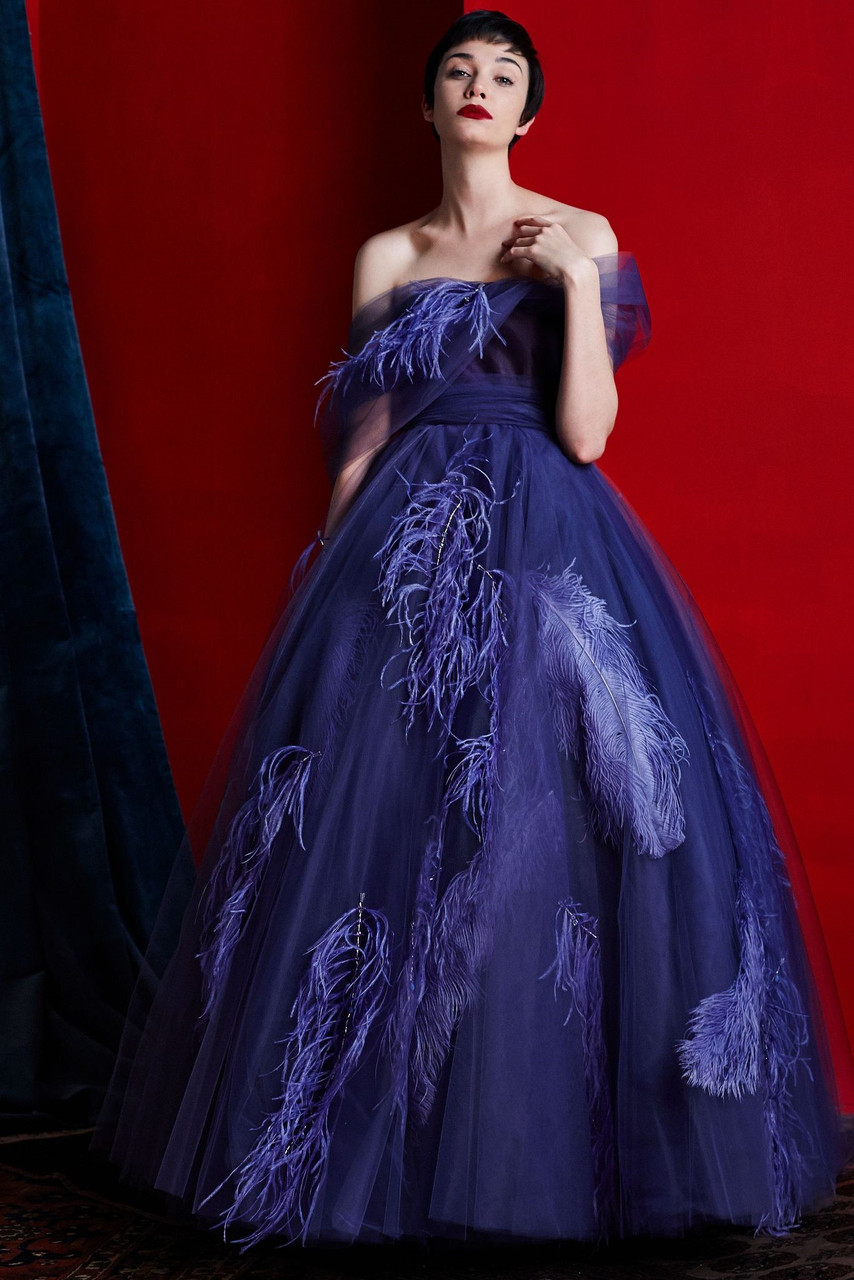 Khoon Hooi YULIA STRAPLESS FEATHERED A-LINE GOWN