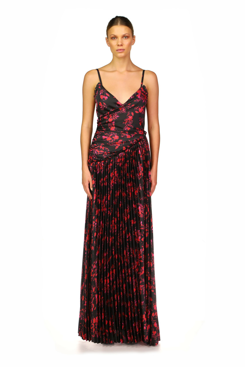 Ml Monique Lhuillier PLEATED A-LINE MAXI GOWN