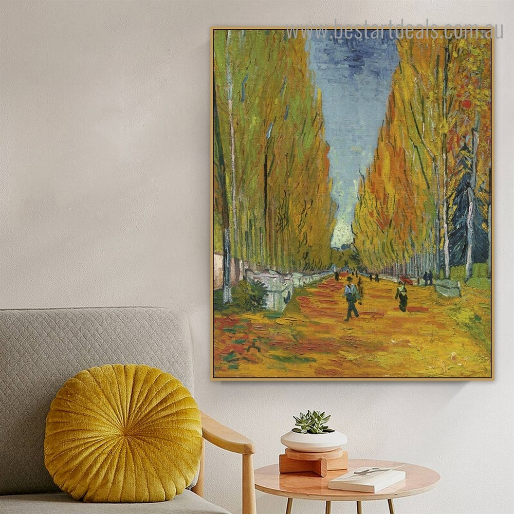 Les Alyscamps Van Gogh Reproduction Framed Artwork Picture Canvas Print for Wall Hanging Decor